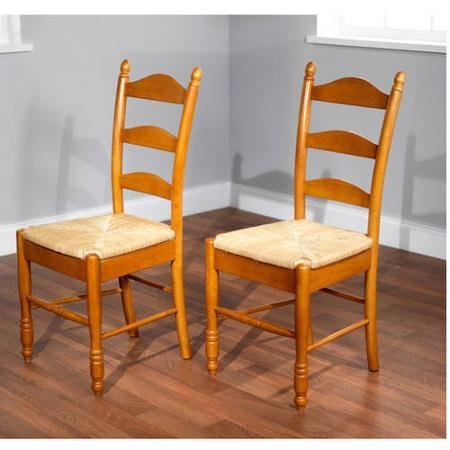 Solid Rubber Wood Construction Chairs, Ladder Back, Rush Seat, Set of 2, (Woven Back Chairs)