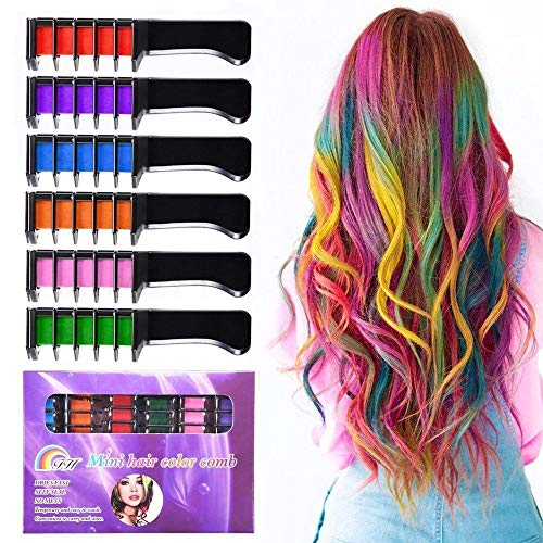 Hair Chalk for Girls,Temporary Bright Hair Chalk Set Non Toxic Washable Hair Color Combs For Kids,Teens, and Adults, Hair Dyeing Party and Cosplay DIY,6 Colors (Best Hair Chalk For Natural Hair)