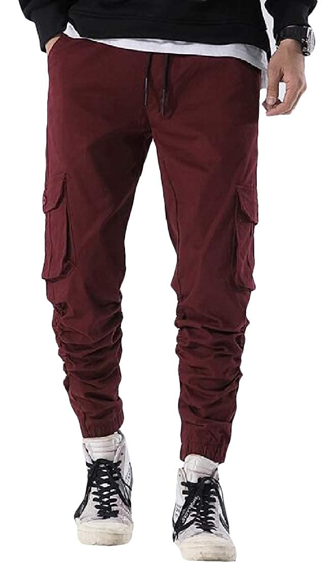 Pluszing Mens Multi Pockets Trousers Cargo Jogging Harem Pants