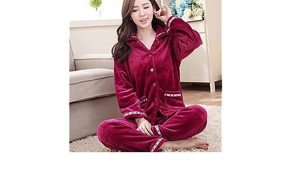 Amazon.com  MH-RITA Thickening Women Winter Flannel Pajamas Female Coral  Fleece Pajama Sets Sleepwear Velvet Long-Sleeve Casual Nightgown Lace  Purple L  ... b7e5ccf2c