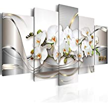 """Large 5 Pieces Butterfly Orchid Flowers Canvas Print Wall Art Painting Decor for Home Decoration Picture for Living Room Stretched Framed White Floral Artwork (60""""x30"""", Ocean of Innocence)"""