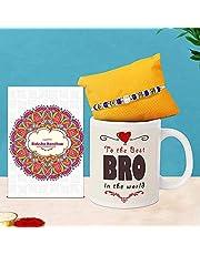 TIED RIBBONS Raksha Bandhan Rakhi for Brother Combo for Brother Rakhi Coffee Mug with Wishes Card