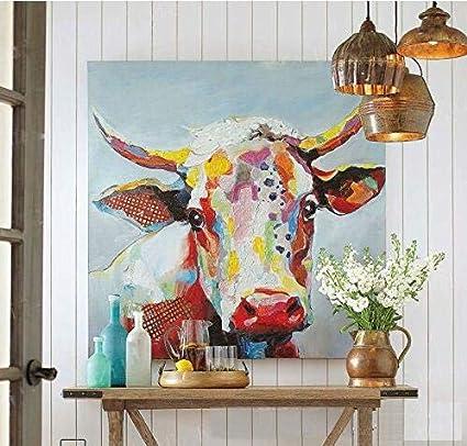 Amazon Com Handmade Colorful Cow Art Animals Pictures Graffiti