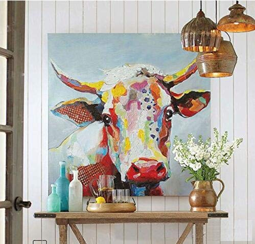 Handmade Colorful Cow Art Animals Pictures Graffiti Texture Palette Knife 3D Oil Paintings Canvas Wall Art for Bedroom Living room Wall Decor Contemporary Art Work Wooden Framed 24