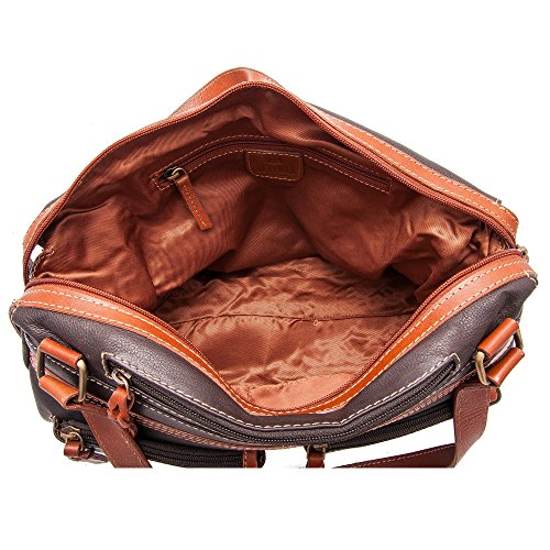 Zerimar Bolso Mujer   100% Piel Alta Calidad   Bolso Señora   Bolso de Mano   Bolso Grande   Bolso Pequeño   Múltiples compartimentos   Medidas: 35 x 21 x 11 cms Marron tan