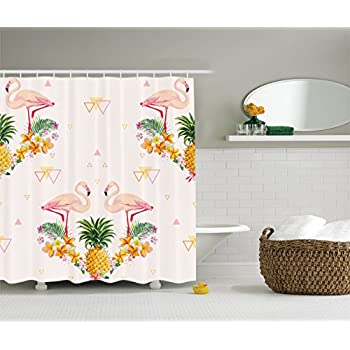 this item ambesonne flamingo decor collection geometric pineapple flamingo tropical summer party theme artistic design polyester fabric bathroom shower