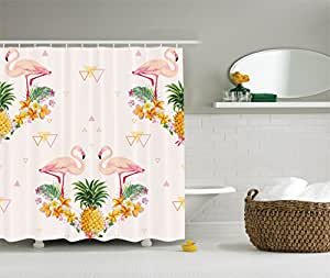 Ambesonne flamingo decor collection geometric for Tropical themed kitchen