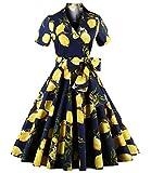 ZAFUL Women 50s Vintage Short Sleeve Lapel Collar V-Neck Swing Dress With Belt (L, Lemon Floral-Yellow)