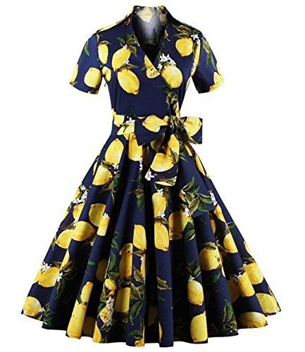 ZAFUL Women 50s Vintage Short Sleeve Lapel Collar V-Neck Swing Dress with Belt (L, Lemon Floral-Yellow)