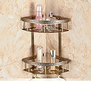70%OFF Triangle Nets basket/ Bathroom corner shelf storage/European antique gold pattern toilet bathroom racks-H
