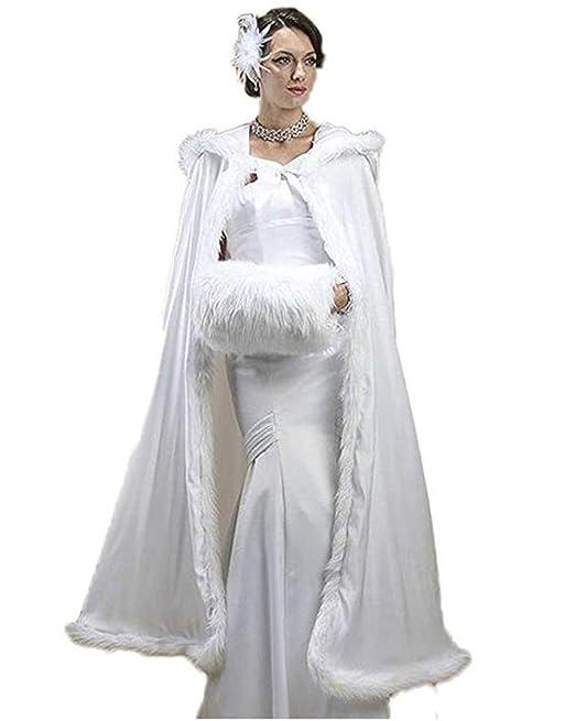 Meibida Cappotto da Sposa Scialle Invernale con Scialle Caldo con Cappuccio Scialle  da Sposa (Avorio)  Amazon.it  Abbigliamento 1133c185925b