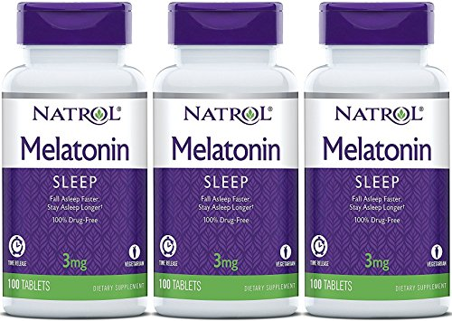 Time Released 100 Tablet (Natrol Melatonin Timed Release Tablets, 3mg 100 Count (Pack of 3))