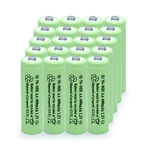 BAOBIAN AA 600mAh 1.2V NiMH Rechargeable Batteries for Solar Light,Solar Lamp,Garden Lights Green (20PCS)