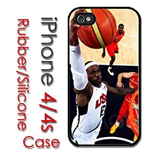iPhone 4 4S Rubber Silicone Case - Lebron James Dunk Basketball