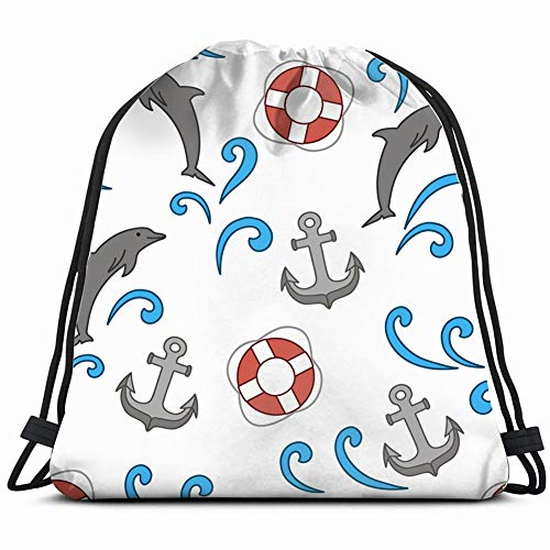 anchors life animals wildlife anchor nature Drawstring Backpack Gym Sack Lightweight Bag Water Resistant Gym Backpack for Women&Men for Sports,Travelling,Hiking,Camping,Shopping Yoga