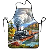 starmiami Steam Trains Creative For Family Woman Chef Aprons Short Wrinkles Bib Aprons