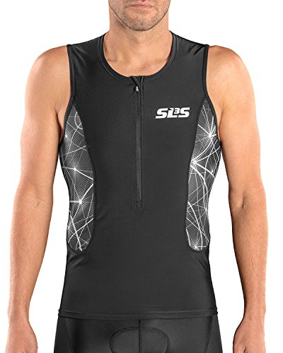 - SLS3 Triathlon Men`s Tri Top FRT | Tight Fit | 2 Pockets | Zipper | Jersey | Singlet | German Designed (Black/Grey Constellation, S)