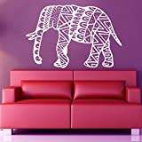 Vinyl Decal Elephant Mandala Wall Meditation Eastern Art Sticker Zen Interior Bohemian Bedding Bedroom Nursery Living Room Yoga Studio Room Home Décor Murals S18