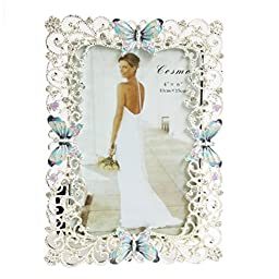 Aimeart Metal Picture Frame, 4 x 6 Decorated with Butterfly