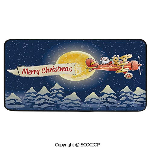 Rectangular Area Rug Super Soft Living Room Bedroom Carpet Rectangle Mat, Black Edging, Washable,Christmas,Santa Claus Airline Theme Vintage Plane Full Moon Snow,39
