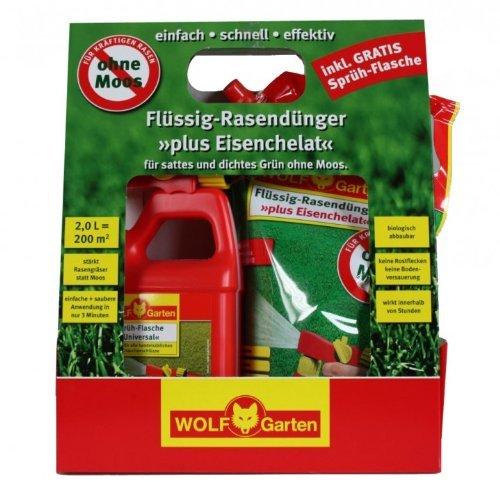 Wolf Garten Flüssig Rasendünger plus Eisenchelat LM200R Set für 200 m²