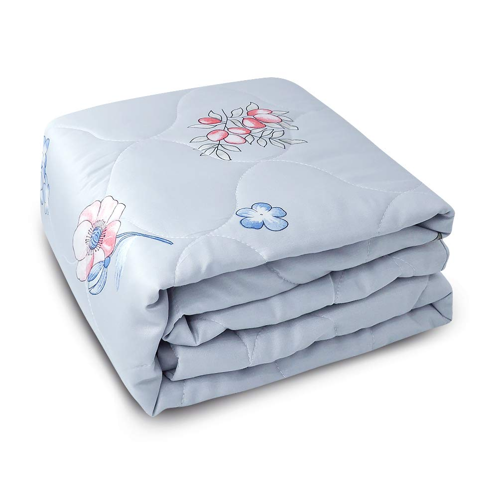 Zenssia Ultra Soft Cotton Toddler Quilt - Breathable Light Weight and Warm Baby Crib Comforter Solid Color with Diamond Quilted Pattern for Baby, Toddler Boy or Girl - Grey Flower