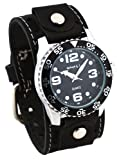 Nemesis #STH097K Men's Premium Wide Leather Cuff Band Watch