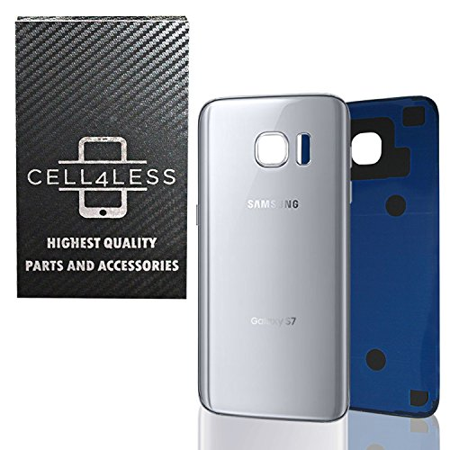 CELL4LESS Compatible Back Glass Cover Back Battery Door w/Pre-Installed Adhesive Replacement for Samsung Galaxy S7 - All Models G930 All Carriers- 2 Logo - OEM Replacement (Silver Titanium)