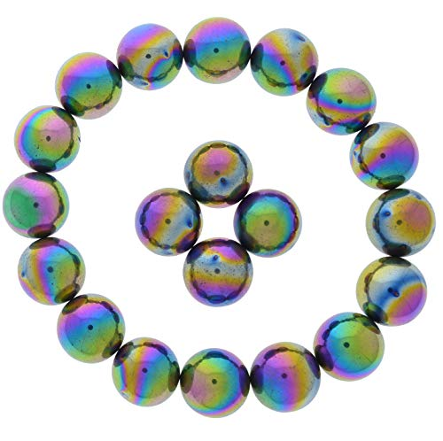 Fantasia Materials: 10 pcs Rainbow Magnetic Hematite Spheres - 0.75 inch Size - Bulk Polished Supplies for Crafts, Fidget Toy, Party Gift, Rattlesnake Eggs, Zingers, Sticky Stones, Reiki