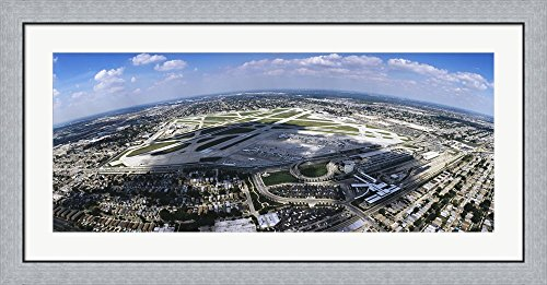 Aerial view of an airport, Midway Airport, Chicago, Illinois, USA by Panoramic Images Framed Art Print Wall Picture, Flat Silver Frame, 44 x 20 - Chicago Airport Images