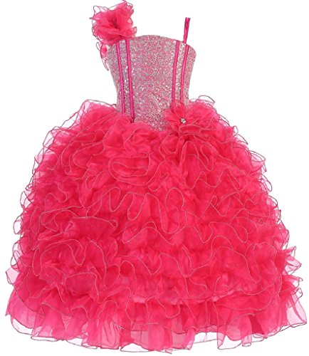 Big Girls' Princess Pageant Girl Ball Gown Flowers Girls Dresses Fuchsia 8 by Dreamer P
