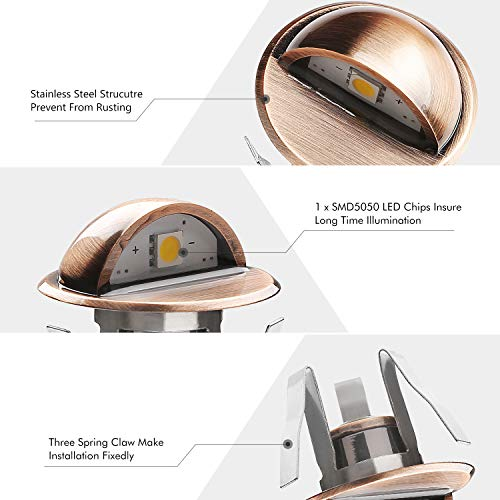 QACA Pack of 10 LED Stair Light Low Voltage Waterproof IP65 Outdoor Φ1.38'' Wood Recessed Warm White LED Deck Lighting Yard Garden Patio Step Landscape Pathway Decor Lamp, Bronze by QACA (Image #5)
