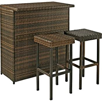 Crosley Furniture Palm Harbor 3-Piece Outdoor Wicker Bar Set with Bar and Two Stools - Brown