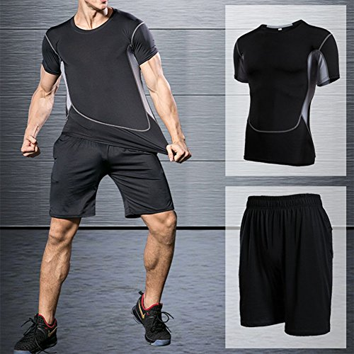 Allenamento da uomo Tute da corsa Tute da compressione sportive a due pezzi Collant asciugatura rapida Abbigliamento sportivo Abbigliamento fitness