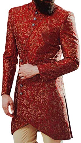 (INMONARCH Red Wedding Traditional Mens Sherwani Decorated with Floral Motifs SH1083R40 40 Regular Red)