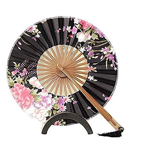 Beautiful Sakura Flowers Sun Umbrella Folding Windmill Fan Chinese Traditional Cluture Remains Gift Decoration (Black) ()