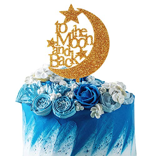 - To The Moon And Back Little Star Gold Glitter Acrylic Cake Topper Wedding Reception Mother Gift Friends Gift Decoration.
