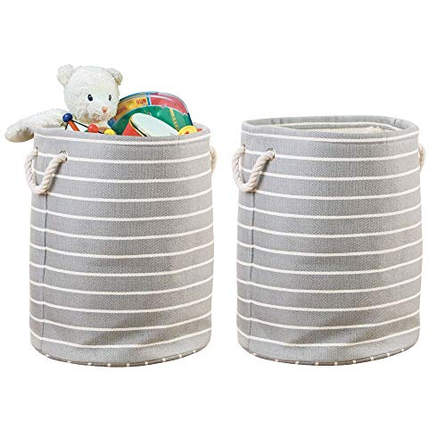 (mDesign Decorative Round Soft Fabric Storage Organizer Basket Bin, Rope Handles - for Kid, Toddler, Baby Room, Nursery, Playroom, Toy Room - Folds Flat, Large, 2 Pack - Gray/Cream)