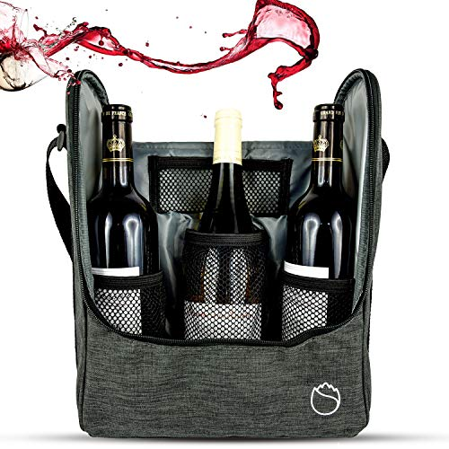 Freshore Insulated Wine 3 Bottle Carriers Tote Travel Cooler Gift Bag For Airplane Liquor With Padded Shoulder Strap(Dark Green)