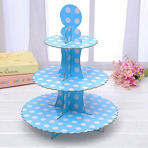 Dot Blue Display (3-tier Cardboard Party Cupcake Display Stand/Dessert Stand/Tea Party Pastry Serving Platter/Food Display Stand-Big blue dot)