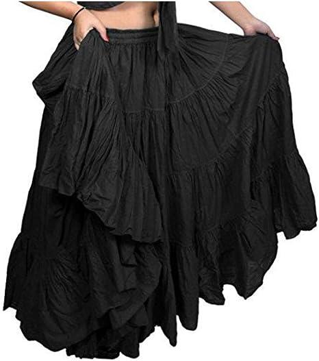 SKY BLUE Cotton Tribal 25 Yard 4 Tier Gypsy Skirt Belly Dance Flamenco Costume