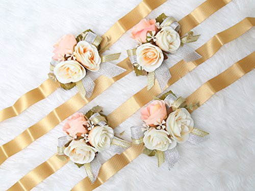 Gorgeous wrist corsage flowers for Wedding Bridal Bridesmaid Ceremony (Pack of 4)(Gold Theme) from Secret Garden