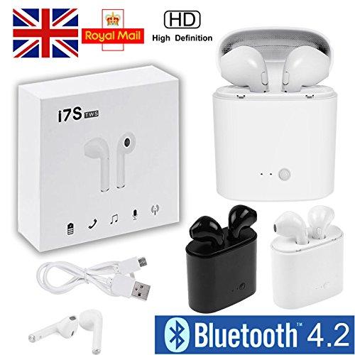 Cewaal Auriculares estéreo inalámbricos, i7S TWS Bluetooth intrauditivos, Cancelación de ruido, Micrófono incorporado, Función del teléfono, con Estuche de carga para iPhone Samsung iPad, Oro Rosa Blanco