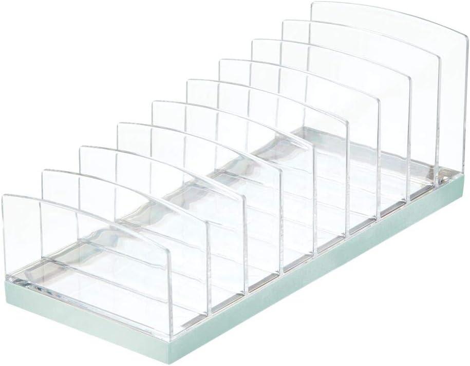 durchsichtig und hellblau Aufbewahrungsbox f/ür den Waschtisch Schminktisch oder Schrank mDesign Kosmetik Organizer aus Kunststoff Schminkaufbewahrung mit 9 Steckpl/ätzen