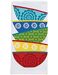 """T-fal Textiles Double Sided Print Woven Cotton Kitchen Dish Towel, 16"""" x 26"""", Dish Stack Print"""