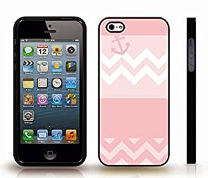 iStar Cases? iPhone 5/5S Case with Chevron Pattern Light Pink Stripe Pink Anchor , Snap-on Cover, Hard Carrying Case (Black)