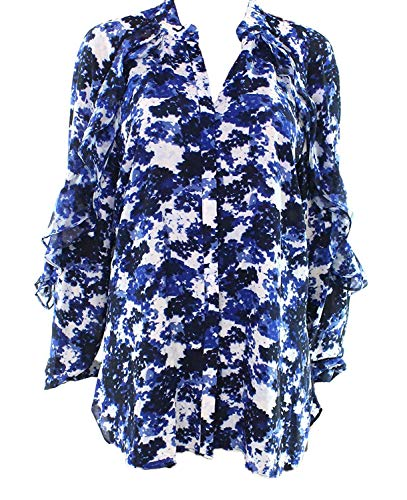 Lauren Ralph Lauren Women's Ruffled Floral Georgette Button-Down Shirt (Blue, XX-Large) - Blue Floral Georgette