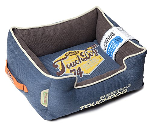 TOUCHDOG 'Sporty Vintage' Original Throwback Reversible Plush Rectangular Pet Dog Bed, Medium, Midnight Blue, Dark Grey