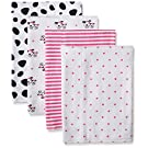 Gerber Baby Girls' 4 Pack Flannel Burp Cloths, Dalmatian, One Size