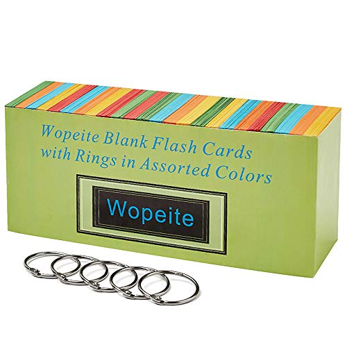 Wopeite Blank Flash Dispenser Box Cards with Rings in Assorted Colors 1000 Index Cards Single Hole Punched with 5 Rings,3.07 X 2.1 inches